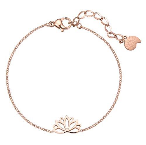 Happiness Boutique Damen Lotus Armband in Rosegold | Filigrane Armkette mit Lotusblume Anhänger Edelstahlschmuck
