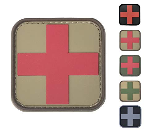 Medic Cross First Aid Morale Patch - Perfect for IFAK Rip Away Pouch, EMT, EMS, Trauma, Medical, Paramedic, First Response Rescue Kit, Tactical, Combat, Emergency, Blow Out, EDC Bag (Coyote-Red)