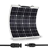 50 Watt Solar Panel Monocrystalline Flexible - JoaSinc Solar Panel Waterproof Bendable for Off Grid PV System on Motorhome, Campervan, Caravan, Camper, Truck, yacht or Boat