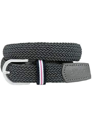 SPOOKS elastischer Gürtel für Damen Herren mit Schnallenverschluss, Reitgürtel für Reithosen, Textil, Stoff - Belt Stretch - grey L/XL