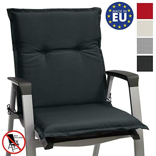 Beautissu Stuhlauflage Niedriglehner Gartenstuhl Base NL Sitzkissen 100x50x6cm Rückenkissen Stuhlkissen für Gartenstühle Sitzpolster Graphit-Grau