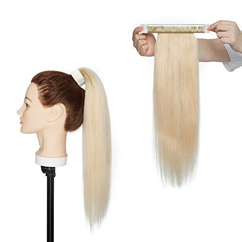 (35-55cm) Extension Capelli Veri Coda di Cavallo #613 Biondo Sbiancante Capelli Umani 80g Coda Automatica 40cm Remy Hair Extension