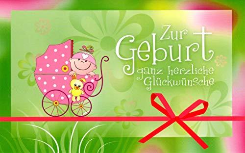 'HURRA, ES IST EIN MÄDCHEN', lustige Baby-Glückwunschkarte zur Geburt eines Mädchen im Retro-/Nostalgie-Stil von EDITION COLIBRI (G13874); klimaneutral gedruckt