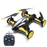 WZRY RC Drone, 2.4G 4CH 6 Axis Gyro RC Quadcopter con Ruedas Land/Sky 2 en 1 RC Drone Mini helicóptero UFO Modo sin Cabeza/Función de Retorno de una tecla, para Principiantes y niños,Amarillo