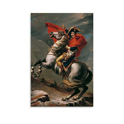 XUYAN Cuadro de retrato de Napoleón Bonaparte Emperador Francia Alpes Caballos Póster de Pared Art Prints de Regalo Pintura Posters Arte Decoración del Hogar Enmarcado, 60 x 90 cm