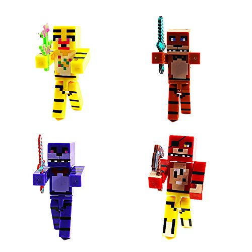 BESTZY Five Nights at Freddy's Action Figure 8pcs Foxy, Gold Freddy, Chica e Endoscheleton Freddy(2,8 pollici)