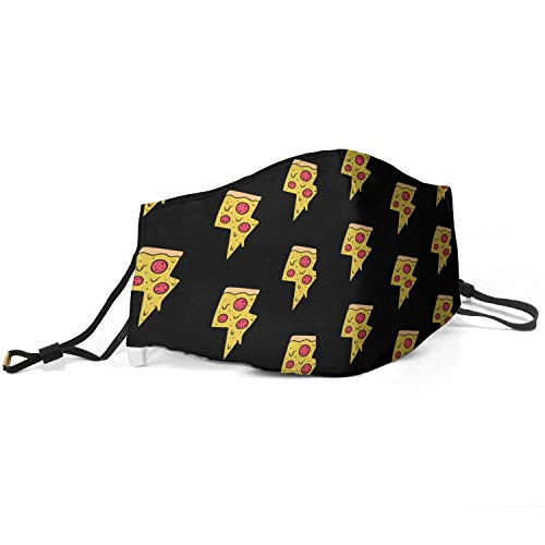 Mens Fashion Mouth Cover Pizza Lightning Bolts Black Backdrop Anti Dust Washable and Reusable Face Mask