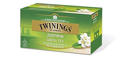 Twinings Té Verde - Jasmine - Té Verde con un Delicado y Perfumado Sabor de Flores de Jazmín - Caliente o Frío, sin Leche y sin Limón - Ideal para la Tarde (25 Bustine)