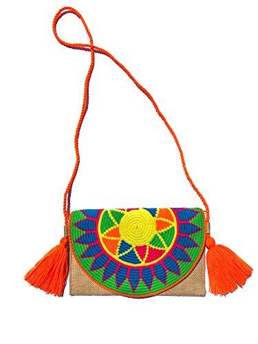 WAYUURS Bolso Étnico tipo Clutch. Estas Mochilas Colombianas y Bolsos Wayuu 100% Originales son Tejidos por Mujeres Indígenas de la Cultura Wayuu. (Naranja)