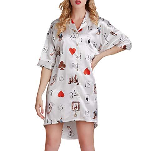 Bedgown Vrouwelijke Vrouw Zijde Lente Zomer Herfst Dunne Sectie Beroep Losse Rok pyjama pyjama ' s/Nachtjapon pak Kwaliteit van Beroemde Merken XL Kleur: wit