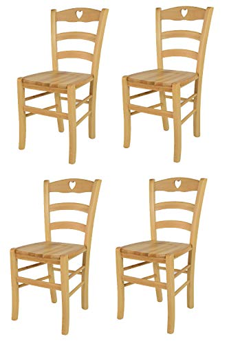 Tommychairs - Set 4 sedie modello Cuore per cucina bar e sala da pranzo, robusta struttura in legno di faggio color naturale e seduta in legno