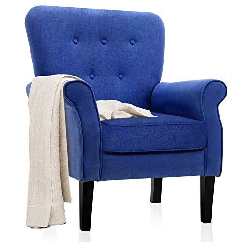 Accent Sedie - Poltrona con design trapuntato a bottone, per piccoli appartamenti, soggiorno o camera da letto, colore: blu scuro