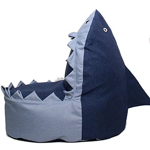 Liu Yu·casa creativa Adorable Shark Bean Bag Funda de sofá Bolsa de Almacenamiento de Animales de Peluche Silla para niños Juguetes de Felpa Ropa Toallas Almacenamiento Extra Grande (Azul)