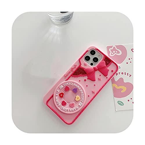 Funda de teléfono para iPhone 12Pro 11Pro MAX XS 7 8 Plus, diseño de corazón con lazo, color rosa
