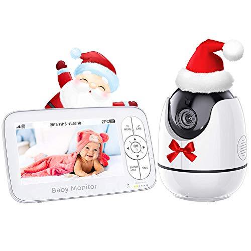 Babyphone mit Kamera, Video Baby Monitor 720P HD 5 Zoll Display, Nachtsicht, Weitwinkelobjektiv, 250M Reichweite, Zwei Wege Audio, Temperatursensor