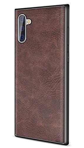 SALAWAT Galaxy Note 10 Case, Slim PU Leather Vintage Shockproof Phone Case Cover Lightweight Premium Soft TPU Bumper Hard PC Hybrid Protective Case for Samsung Galaxy Note 10 6.3inch (Dark Brown)
