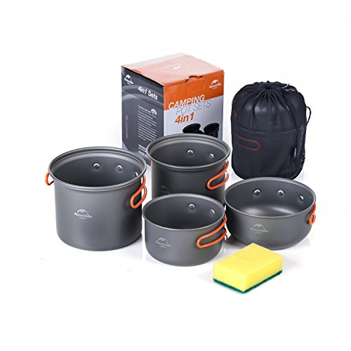 Camping Cookware Mess Kit, Lightweight Aluminum Cookware Cooking Pan Pot Set for Outdoor Backpacking Camping Hiking Picnic (4-Sets)