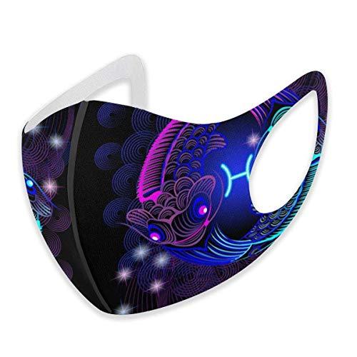 asdew987 Constellation - Máscara facial de algodón ajustable, diseño de signo del zodiaco de Piscis para mujeres, hombres y mujeres