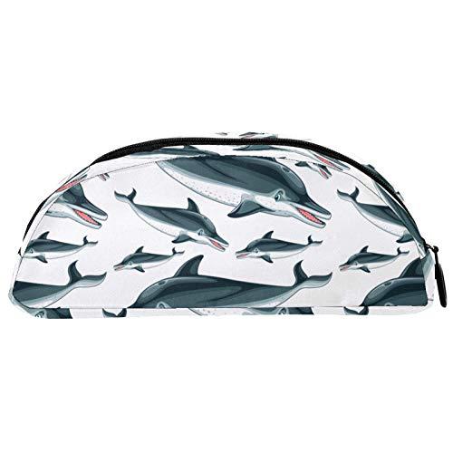 Shiiny Delfines - Estuche para lápices y bolígrafos, diseño gráfico de barco, estuche de cosméticos y bolsa de viaje, bolsa de papelería, regalo de cumpleaños escolar
