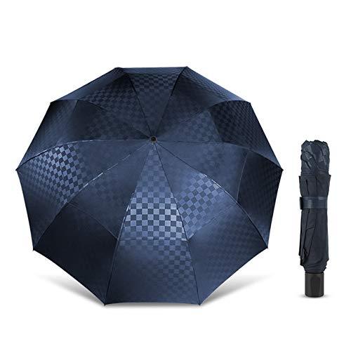 BDWS Paraguas Paraguas Plegable de 3 Capas, Paraguas Plegable de Dos Capas, Gran tamaño 10k, Cortavientos, para Viajes y Familia parumes España Azul