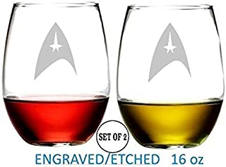 Star Trek Inspired Shield Stemless Wine Glasses Etched Engraved Perfect Fun Handmade Gifts for Everyone Set of 2