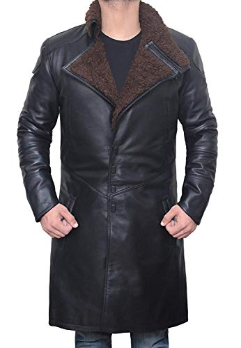 Decrum Black Shearling Leather Trench Coat Mens Jacket | [1500323] Blade Real, M