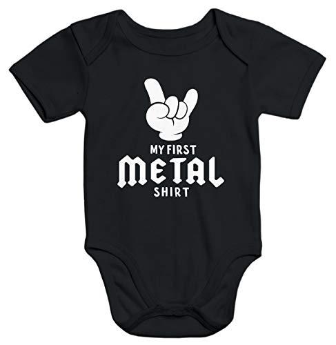 MoonWorks Kurzarm Baby Body My First Metal Shirt Hardrock Heavy Metal Bio-Baumwolle, 3-6 Monate, Metal Shirt Schwarz