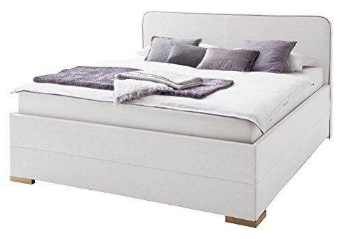 sette notti Polsterbett Bett 140x200 Weiß Antik, Bett mit Boxspringbett-Optik, Kunstlederbett mit Liegefläche 140x200 cm, Terreno Art Nr. 1259-10-3000