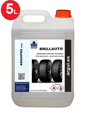 ARGUIPRO Line BRILLAUTO 5 litros. Abrillantador, renovador de neumáticos y plásticos de Interior y Exteriores. Abrillanta y nutre la Piel y Polipiel.