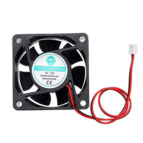 ZLININ Y-Longhair Accesorios de la Impresora 3D, 60 * 60 * 25mm 12v 6025 Ventilador de refrigeración con 2P Cable de Impresora de la Impresora 3D