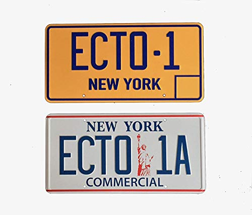 Super6props Ghostbusters ECTO 1 and ECTO-1A New York Prop License Plate 2 Pack (300mm x 150mm)