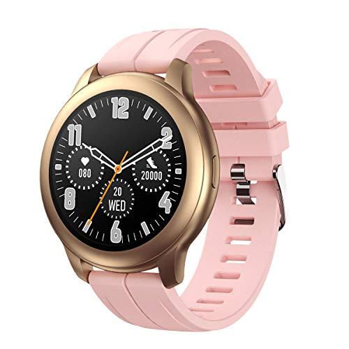 SANAG Smartwatch, Herren Smartwatch Kompatibel mit iPhone und Android, IP67 wasserdicht, Wettervorhersage, Schrittzahl, Herzfrequenzerkennung, Pink