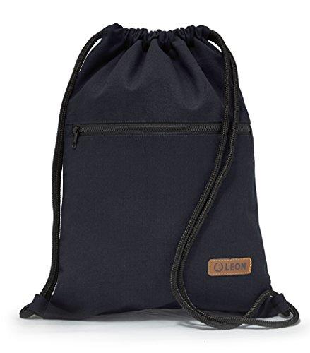 By Bers LEON Turnbeutel, große Reißverschluss Außentasche, mit Innentaschen Rucksack Tasche Damen Herren & Teenager Gym Bag Draw String (Blau_Zipper)