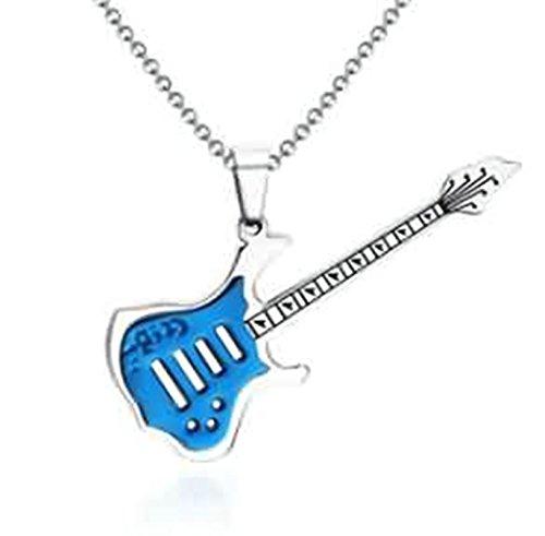 LOUMVE Edelstahl Kettenanhänger Blau Guitar Halskette Anhänger für Herren