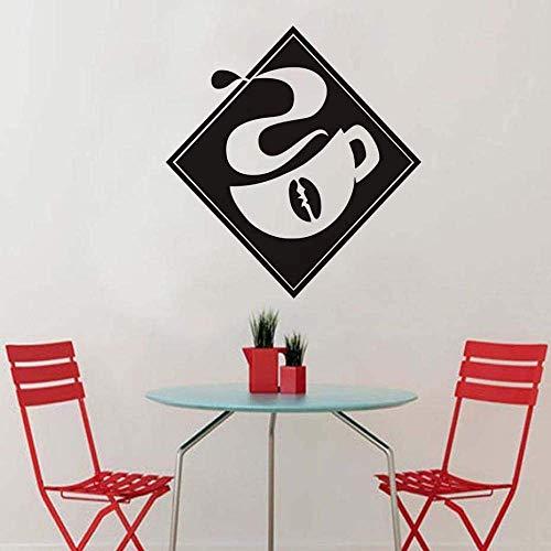 Wandaufkleber, 3D Wallpaper, Schwarz Retro Kaffeetasse Silhouette Diy Wandaufkleber Abnehmbar, Home Decoration 41X44Cm