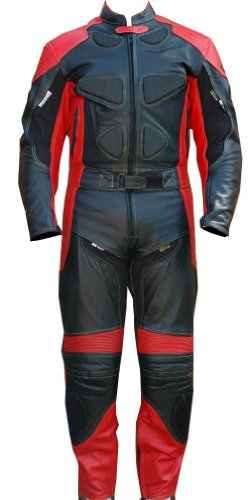 Perrini 2pc Motorcycle Racing Riding Leather Track Suit w/Armor & Padding New Red/Black