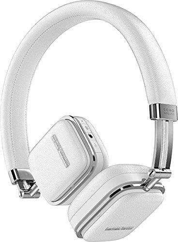 Harman/Kardon Soho Wireless NFC Bluetooth On-Ear Mini Kopfhörer (Integrierter Lautstärkeregelung/Fernbedienung/Mikrofon, Kompatibel mit Apple iOS/Android Smartphones/Tablets/MP3 Geräten) weiß