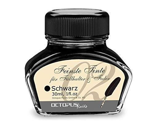 30 ml Negro, tinta de pluma estilográfica en un frasco visualmente atractivo Adecuado para plumas estilográficas tradicionales o plumas con convertidores Tintas elegantes, fabricadas por la empresa de Dresde Octopus Fluids GmbH & Co. KG Por el bien d...