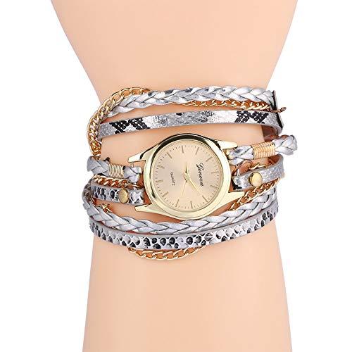 Orologio da polso da donna, intrecciato, analogico, al quarzo, 7 colori