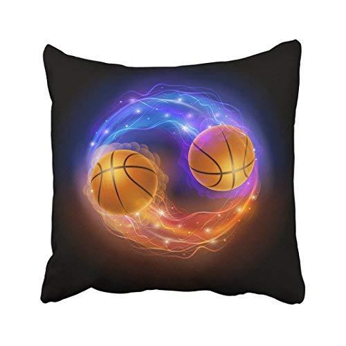 Funda de almohada decorativa para el hogar, 18 x 18 cm, color azul, con diseño de pelota de baloncesto en llamas y luces contra el calor negro y naranja abstracto, 45 x 45 cm, fundas de cojín cuadradas decorativas para sofá, accesorio para el hogar