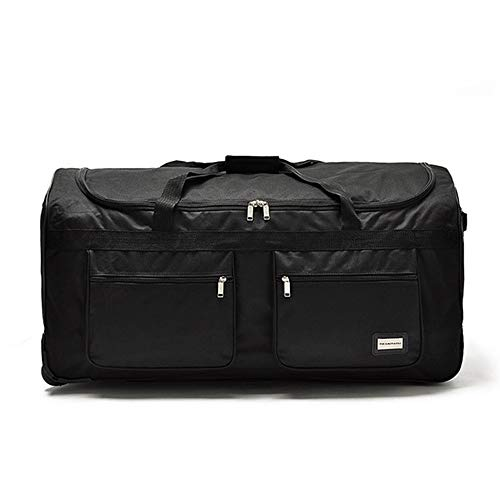 LRHD Portable 3-wheeled Carry-on Luggage, 600D Oxford Cloth With Aluminum Alloy Tie Rod Luggage, 40-inch Waterproof Luggage Suitable for Many Airlines, Business Travel Gifts, Black