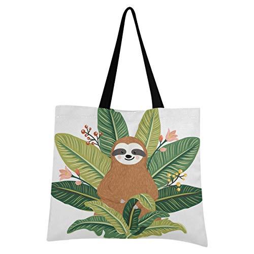 XIXIXIKO - Bolso de lona para mujer, diseño de animales tropicales, diseño de perezosos y hojas tropicales