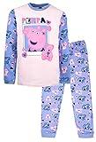 Peppa Pig Conjunto de pijama oficial | Edades 2-8 años | Pijama de manga larga | Disfraz de vestir 100% algodón | Producto oficial | Regalo para niñas…