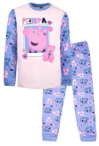 Peppa Pig Conjunto de pijama oficial | Edades 2-8 aos | Pijama de manga larga | Disfraz de vestir 100% algodn | Producto oficial | Regalo para nias