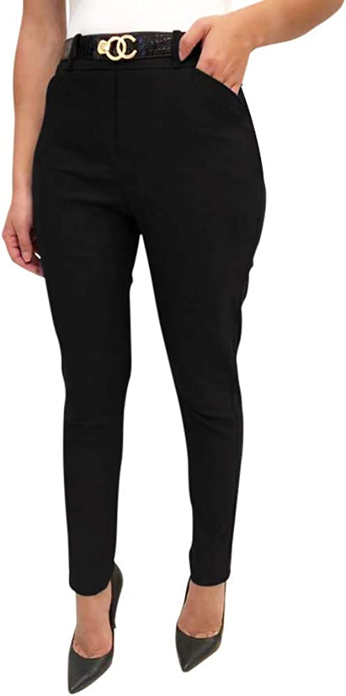 Obadiah Collection Stretchy Pull on Pants for Women with Pockets and Belt