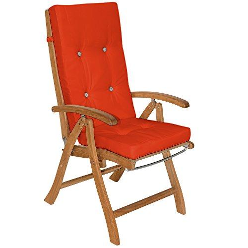 Detex® Stuhlauflagen Vanamo Befestigungsschlaufen 6er Set Auflage Hochlehner Sitzauflage Stuhlkissen Kissen Orange