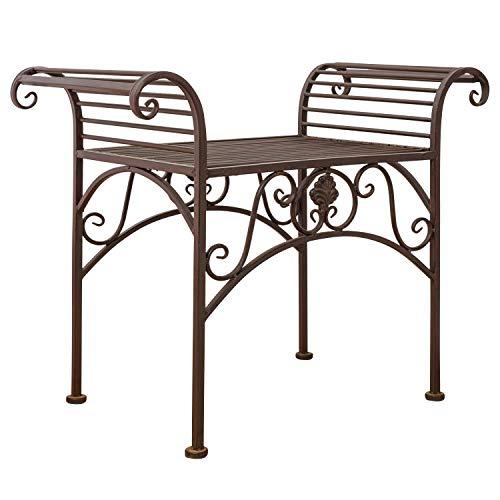 Gartenbank Eisen Metall Antik-Stil Garten Bank Gartenmöbel braun 70cm - 5