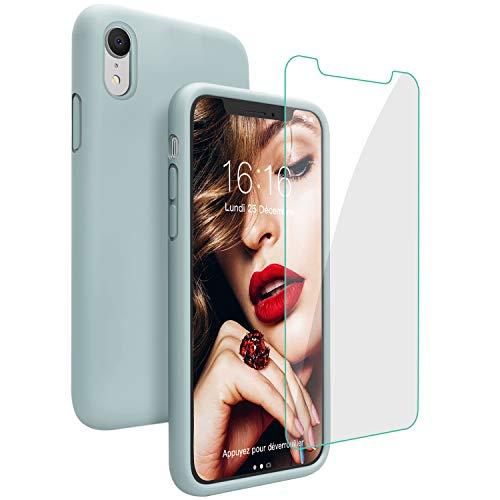 JASBON Coque pour iPhone XR Coque Silicone Liquide avec Protecteur d'écran Gratuit, Housse Protective Etui Anti-Rayure Anti Choc Gel Case iPhone XR –Vert Léger