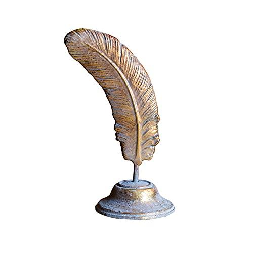 liushop Estatuas Decoración de Escritorio de Plumas de Hierro Fundido Retro Forjado Hierro Estudio Decoración de Escritorio Nostálgico Europeo Estilo Americano Decoración del hogar
