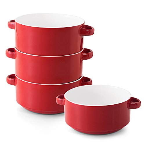 Porcelain Soup Bowls with Handles, Set of 4, 20 Ounce Ceramic Crocks for French Onion Soup, Cereal, Oatmeal or Chili, Stackable Bowls, Large Serving Crocks are Microwave and Oven Safe (Red)